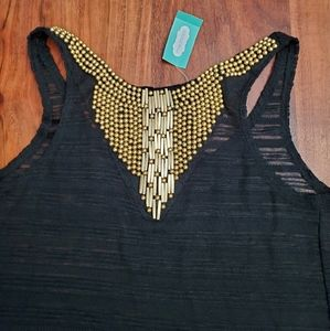 Maurices Aztec Beaded Top See through Tee Shirt